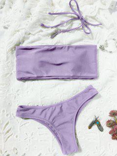 High Cut Bandeau Thong Bathing Suit - Light Purple S