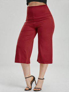 Wide Leg High Waisted Capri Pants - Red M