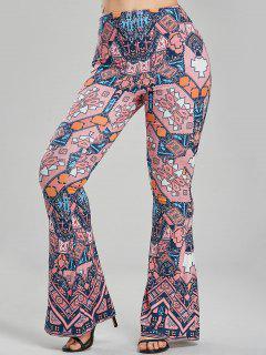 Geometric Print Casual Flare Pants - L