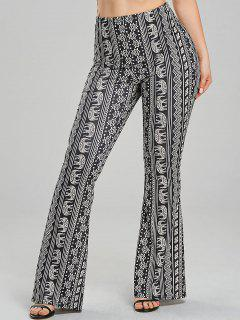 African Elephant Print Flare Pants - Black M