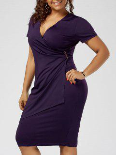 Plus Size Overlap Plain Tight Surplice V Neck Sheath Dress - Deep Purple 2xl