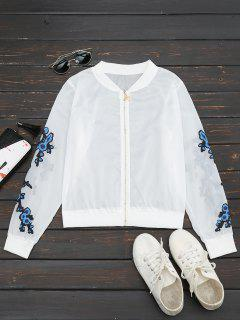 Floral Print Zip Up Jacket - Blue L