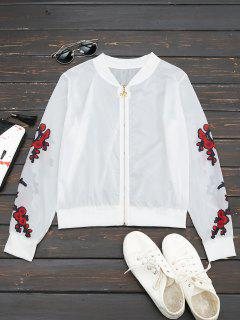 Jacke Mit Blumendruck Und Reißverschluss - Rot L