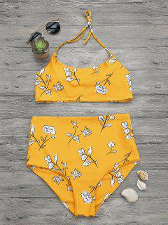 Slimming Control High Waisted Bralette Bikini Set - Mustard L