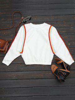 Sweat-shirt Contrasté Col Rond - Blanc