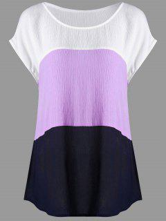Plus Size Cap Sleeve Crinkle Blouse - White + Purple 5xl