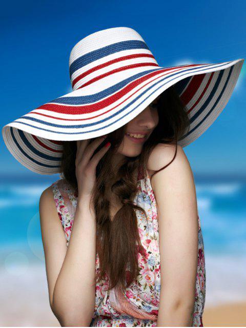 Sombrero de paja rayado ancho de rayas - Azul Violeta  Mobile