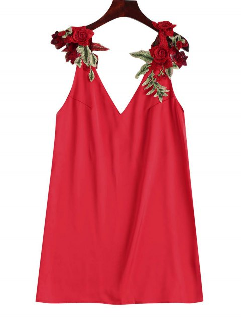 shop Floral Patched Shift Dress - RED M Mobile