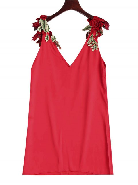 shops Floral Patched Shift Dress - RED S Mobile