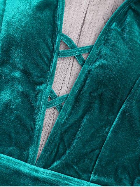 Velvet Plunge Backless One Piece Swimsuit - Vert Malachite L Mobile