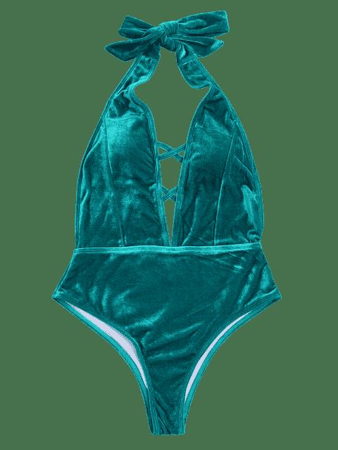 unique Velvet Plunge Backless One Piece Swimsuit - MALACHITE GREEN M Mobile