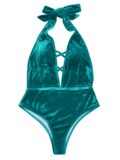 affordable Velvet Plunge Backless One Piece Swimsuit - MALACHITE GREEN S Mobile