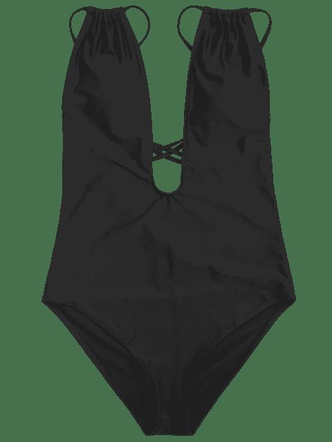 Cross Back High Cut Swimwear - Noir M Mobile