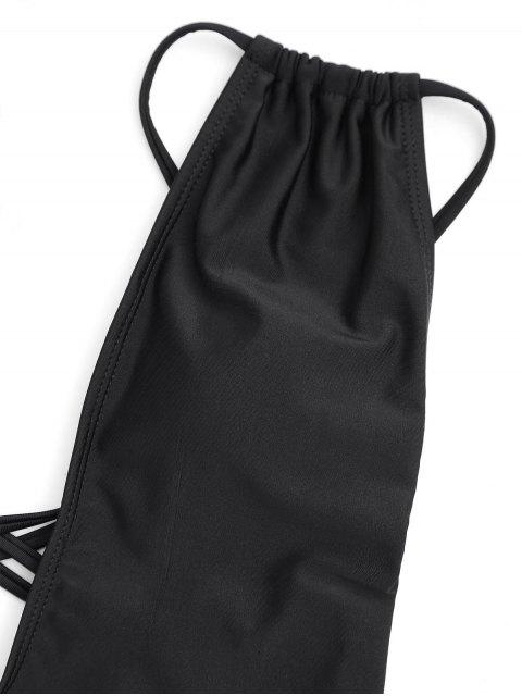 ladies Cross Back High Cut Swimwear - BLACK S Mobile