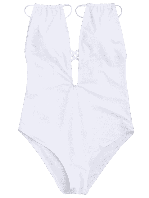 outfit Cross Back High Cut Swimwear - WHITE S Mobile