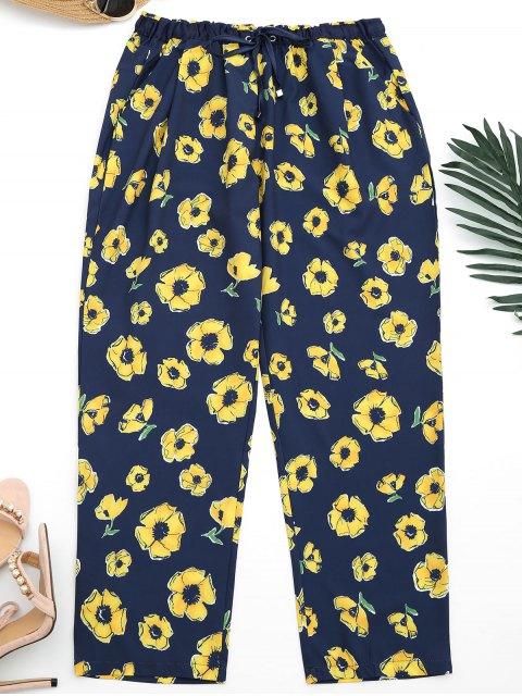 Noveno pantalones florales de los pies estrechos - Azul Purpúreo S Mobile