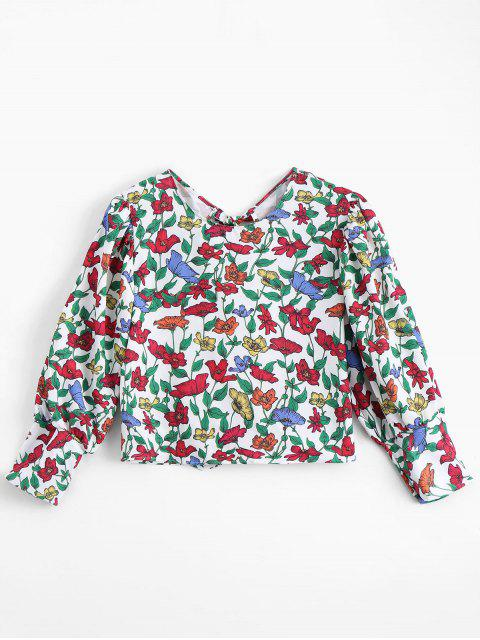 chic Bowknot Floral Cut Out Top - FLORAL M Mobile