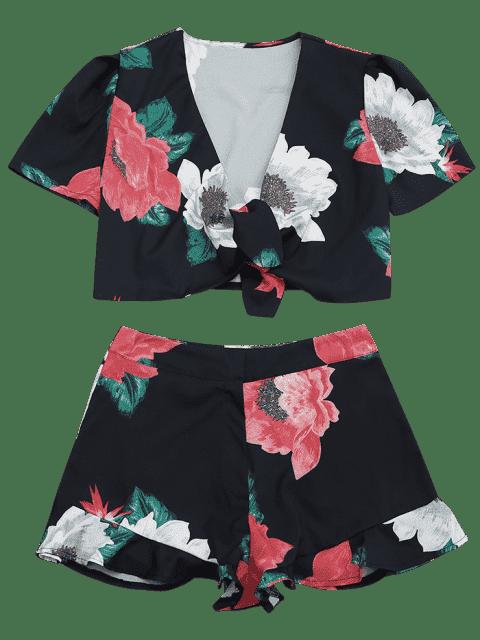 Dessus enroulé floral et foulard couvert - Noir S Mobile