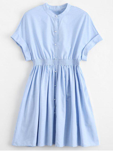 best Smocked Waist Button Up Casual Dress - LIGHT BLUE L Mobile
