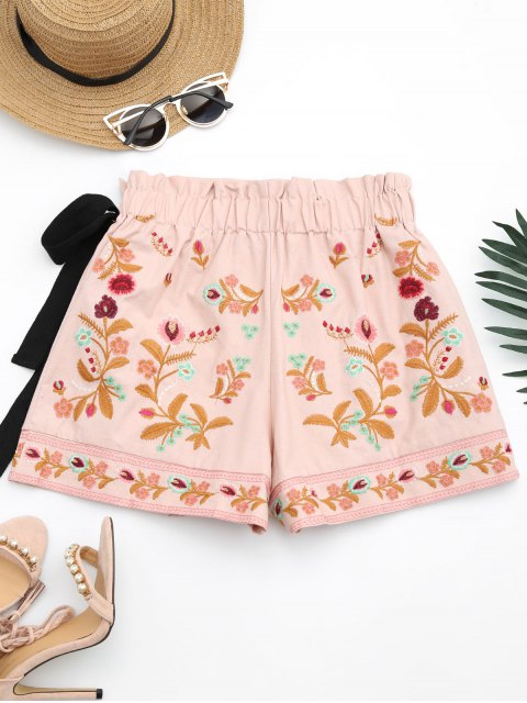 Shorts de culotte brodés floraux Bowknot - ROSE PÂLE L Mobile