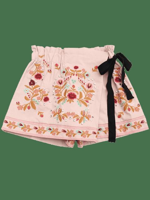 Shorts de culotte brodés floraux Bowknot - ROSE PÂLE S Mobile
