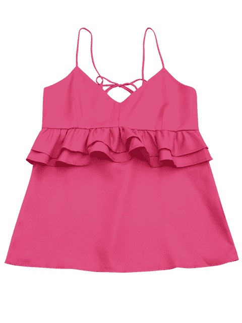 sale Cami Ruffles Lace Up Tank Top - ROSE RED S Mobile