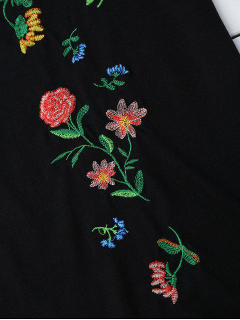 new Cotton Loose Floral Embroidery T-Shirt - BLACK L Mobile