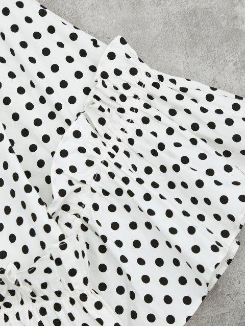 Polka Dot Ruffle Hem High Low Blouse - Texture de Point Noir M Mobile