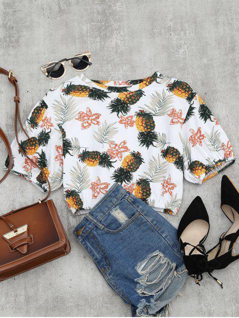 Pineapple Imprimir Drop Blusa de corte de hombro - Multicolor Única Talla Mobile