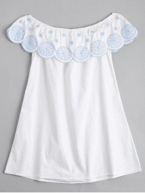 Flounce el vestido bordado hombro - Blanco L Mobile