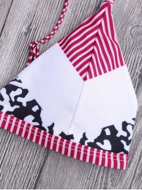 shops Stripe Leopard Patchwork Print String Bikini Set - MULTICOLOR M Mobile