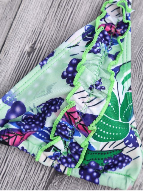 chic Grape Print Frilled Bikini Top and Bottoms - MULTICOLOR S Mobile