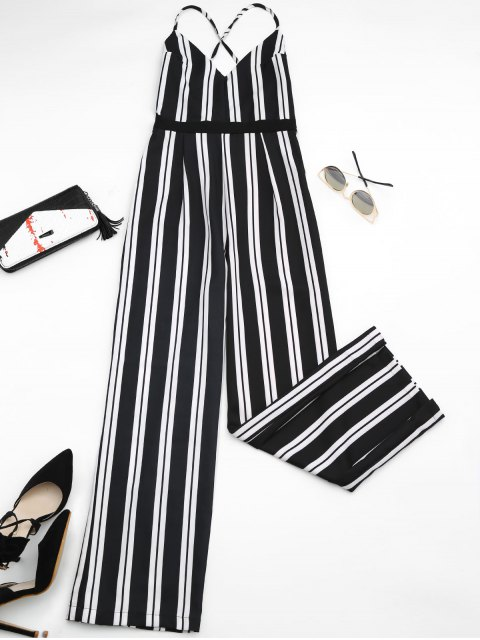 buy Criss Cross Stripes Wide Leg Jumpsuit - STRIPE L Mobile