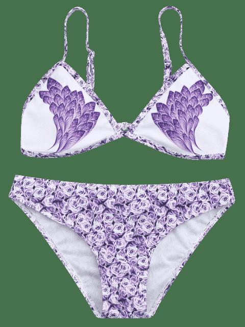 lady Feather Rose Print Plunge Bikini Set - PURPLE L Mobile