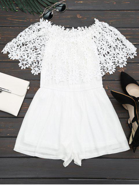 new Off The Shoulder Lace Panel Romper - WHITE M Mobile