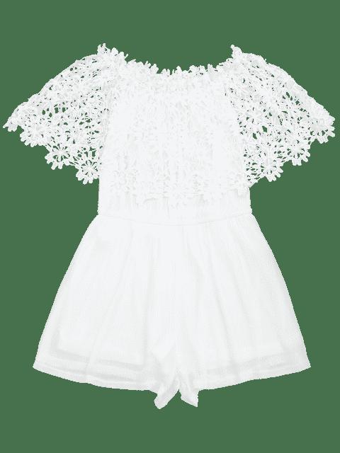 Off The Shoulder Lace Panel Romper - Blanc L Mobile