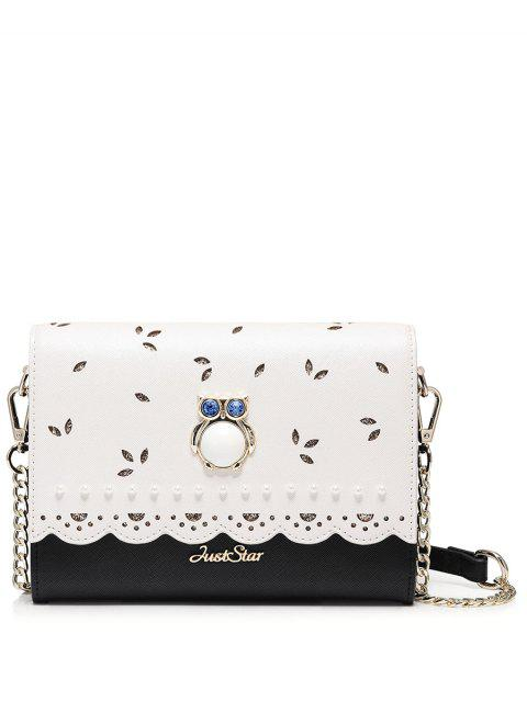 trendy Owl Cut Out Scalloped Crossbody Bag - BLACK  Mobile
