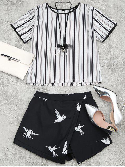 Costume rayé avec imprimé oiseau avec collier - Noir M Mobile