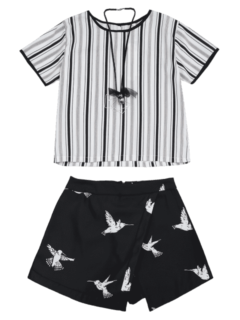 latest Bird Print Striped Suit with Necklace - BLACK L Mobile