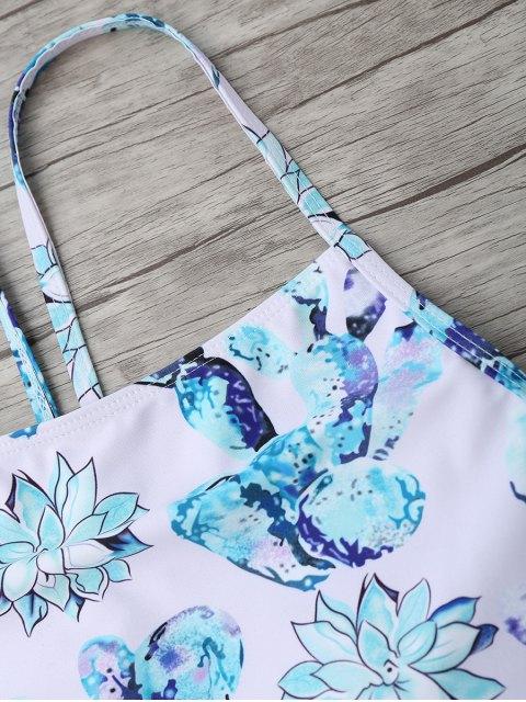 buy High Neck High Waisted Bikini Set - MULTICOLOR L Mobile