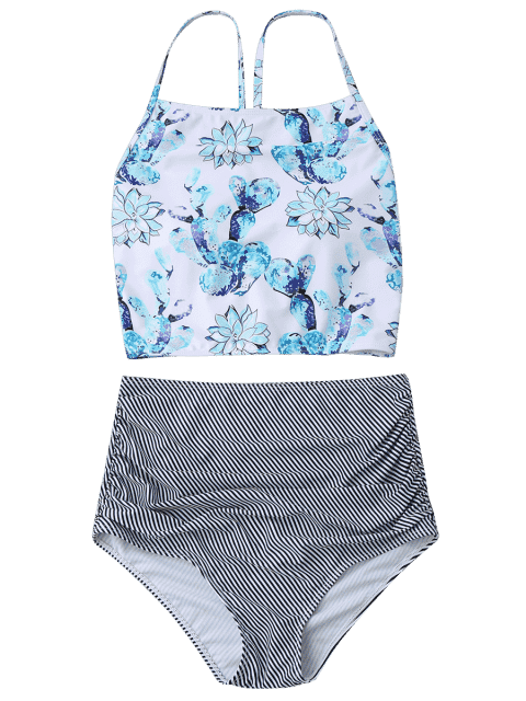 womens High Neck High Waisted Bikini Set - MULTICOLOR M Mobile