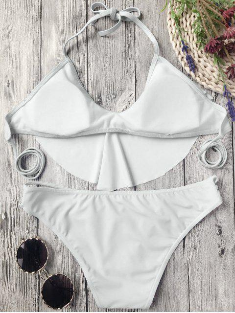 ladies Flutter Draped Halter Bikini Set - GREY WHITE M Mobile