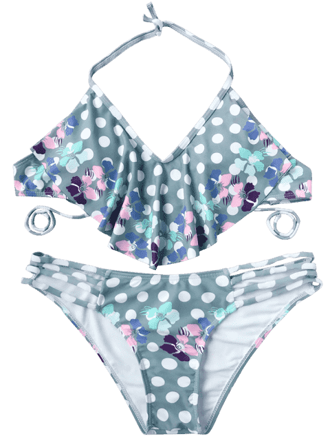 hot Polka Dot Floral Flutter Draped Bikini Set - MULTICOLOR L Mobile