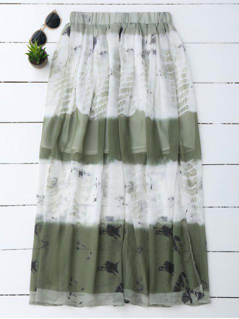 affordable Printed Chiffon Slit A Line Skirt - WHITE L Mobile