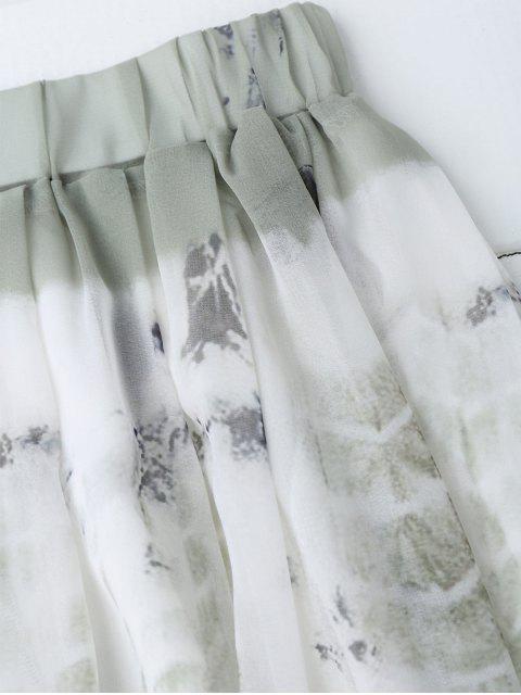 affordable Printed Chiffon Slit A Line Skirt - WHITE L Mobile