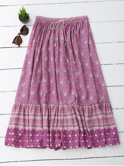 Flounces Tribal Imprimir una falda de línea - Morado Claro M Mobile