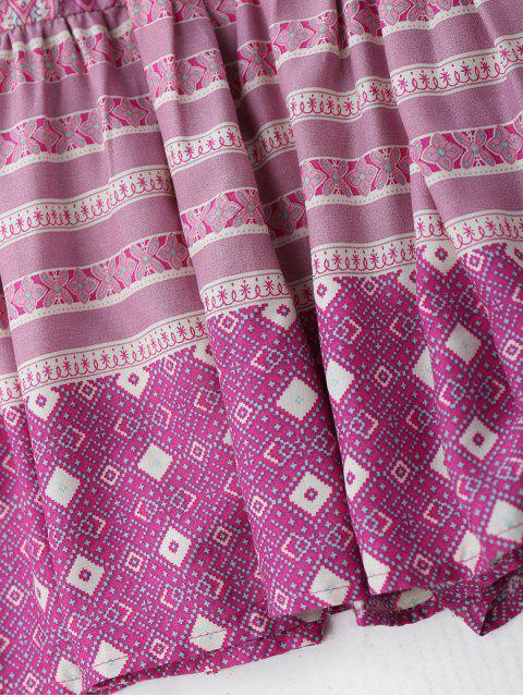 lady Flounces Tribal Print A Line Skirt - LIGHT PURPLE L Mobile