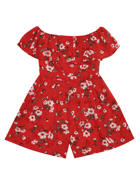 Off The Shoulder Floral Print Flounce Romper - Floral L Mobile