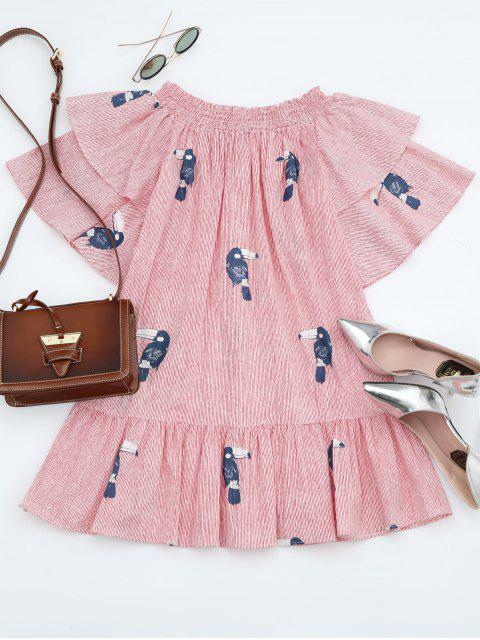 best Off Shoulder Smocked Striped Ruffles Dress - STRIPE ONE SIZE Mobile