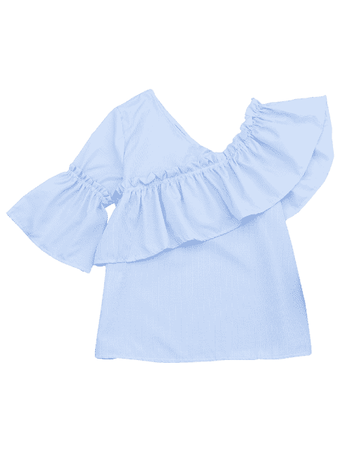 Ruffle Hem Skew Collar Blouse à rayures - Bleu clair XL Mobile